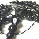 SALE Art Deco Style Long Black Bead..