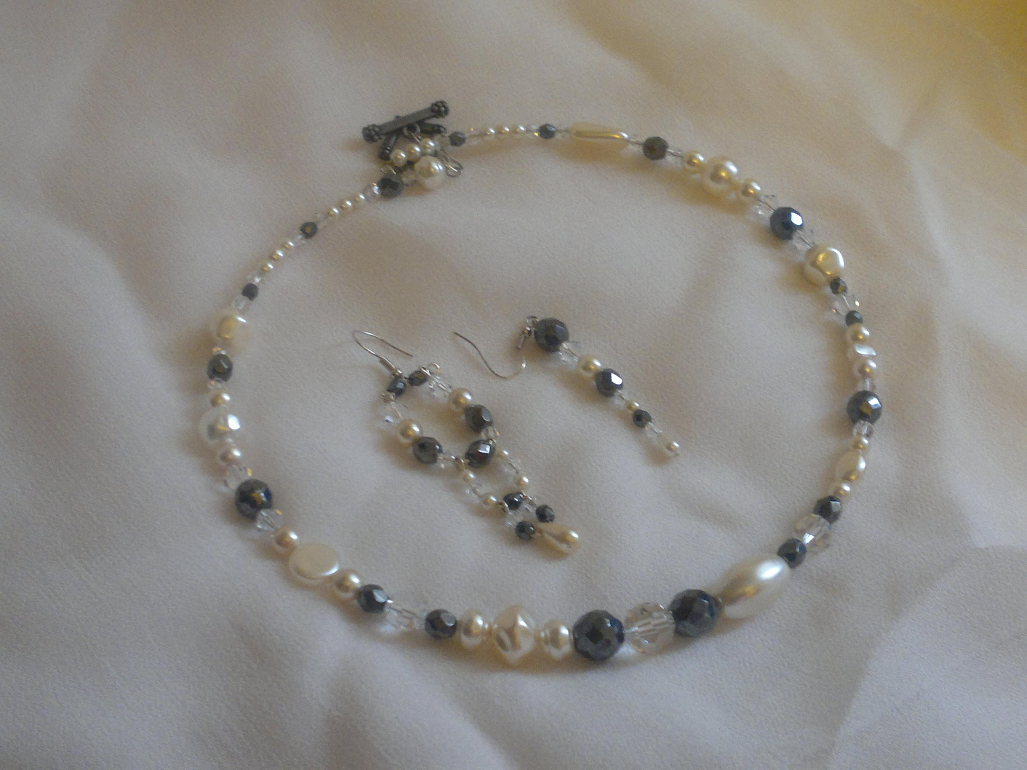 Haematite, Clear Crystal And Ivory Pearl Memory Wire Necklace And ...